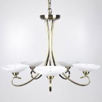 古銅5燈噴砂玻璃罩吊燈-BNL00092