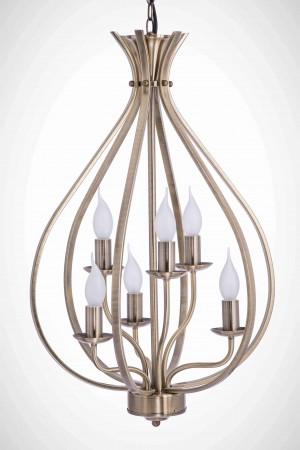 電鍍古銅經典款6燈燭光吊燈-BNL00077