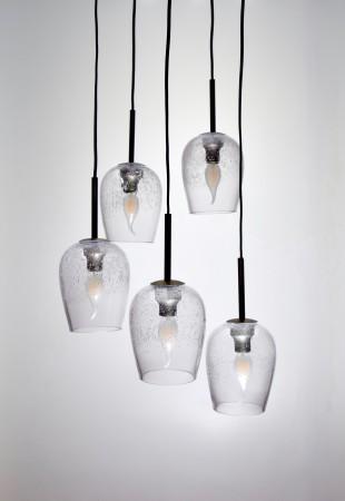 鐵灰色氣泡玻璃5燈吊燈-BNL00136