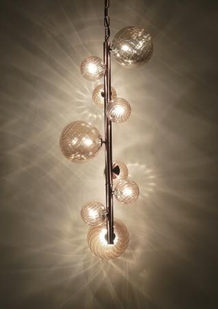 單竹節玫瑰金吊燈