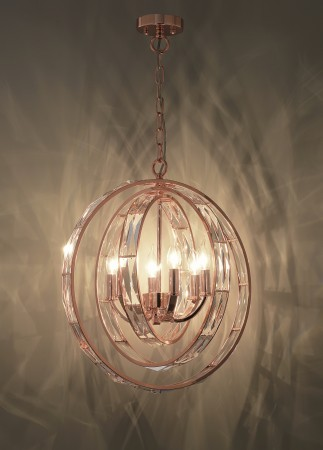 三圓環玫瑰金吊燈