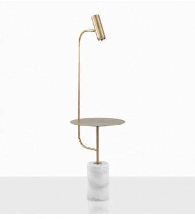 大理石金色立燈-白色大理石底座-客製品