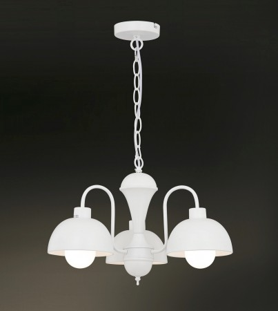 北歐風圓頂白色3吊燈