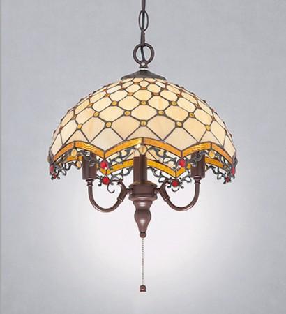 蒂芬尼手工彩繪玻璃圓頂吊燈-LS-7138-1