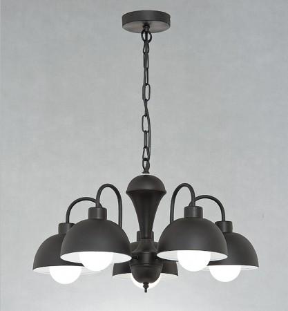 北歐風圓頂黑色5吊燈