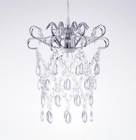 鍍鉻扁鐵框透明壓克力珠吊燈-BNL00048