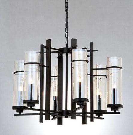 北歐風管琴電鍍玻璃6燈頭吊燈