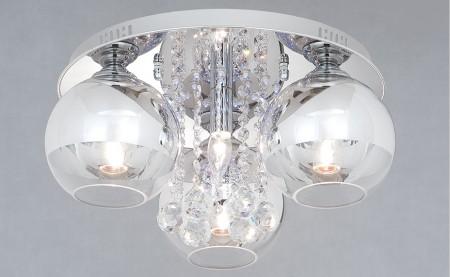 鍍鉻圓盤3燈罩半吸頂燈-LS-7162-2