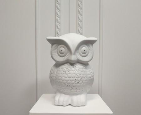 白色透光陶瓷貓頭鷹造型桌燈(大)-療癒系