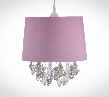 蝴蝶透明壓克力珠掛鏈粉紅吊燈-BNL00010