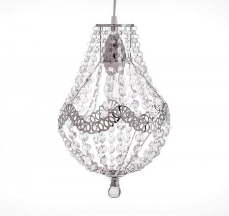 鍍鉻銀鐵花邊透明壓克力珠吊燈-BNL00023