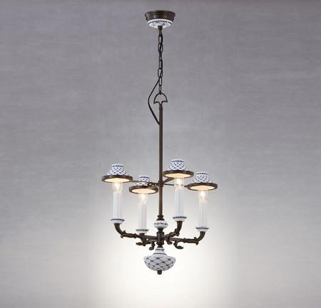青花瓷黑古銅4燈吊燈