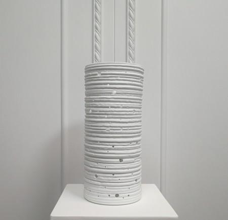 白色長圓筒透光陶瓷桌燈-療癒系
