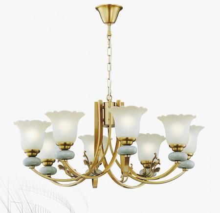 古銅金彎管陶瓷珠8燈玻璃罩吊燈