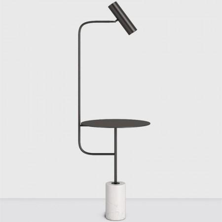 大理石黑色立燈-白色大理石底座-客製品