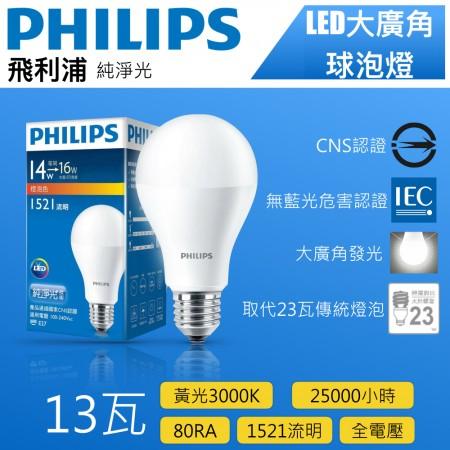 Philips飛利浦13W黃光LED全電壓燈泡