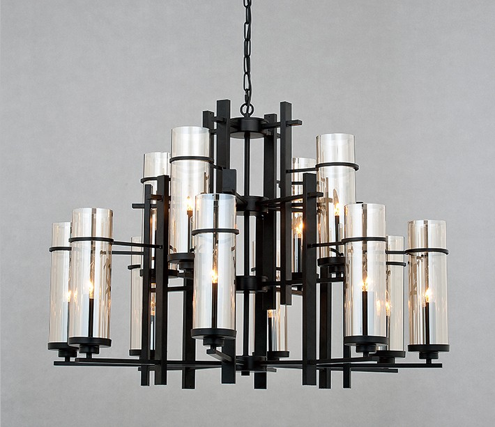 北歐風管琴電鍍玻璃12燈頭吊燈
