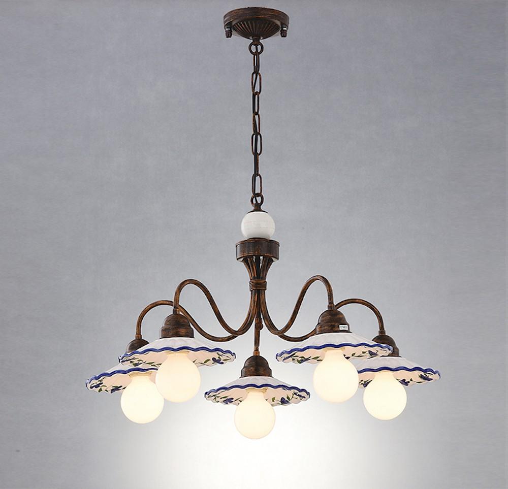 鄉村風陶瓷盤5燈吊燈
