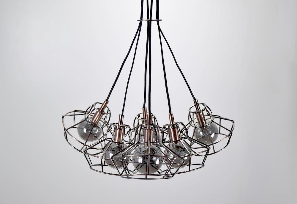 Loft紅銅復古鐵架6燈吊燈-BNL00089