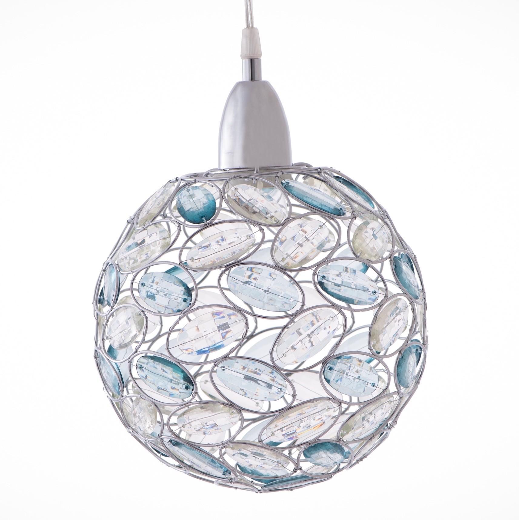 鍍鉻鴨蛋綠壓克力珠圓球吊燈-BNL00019