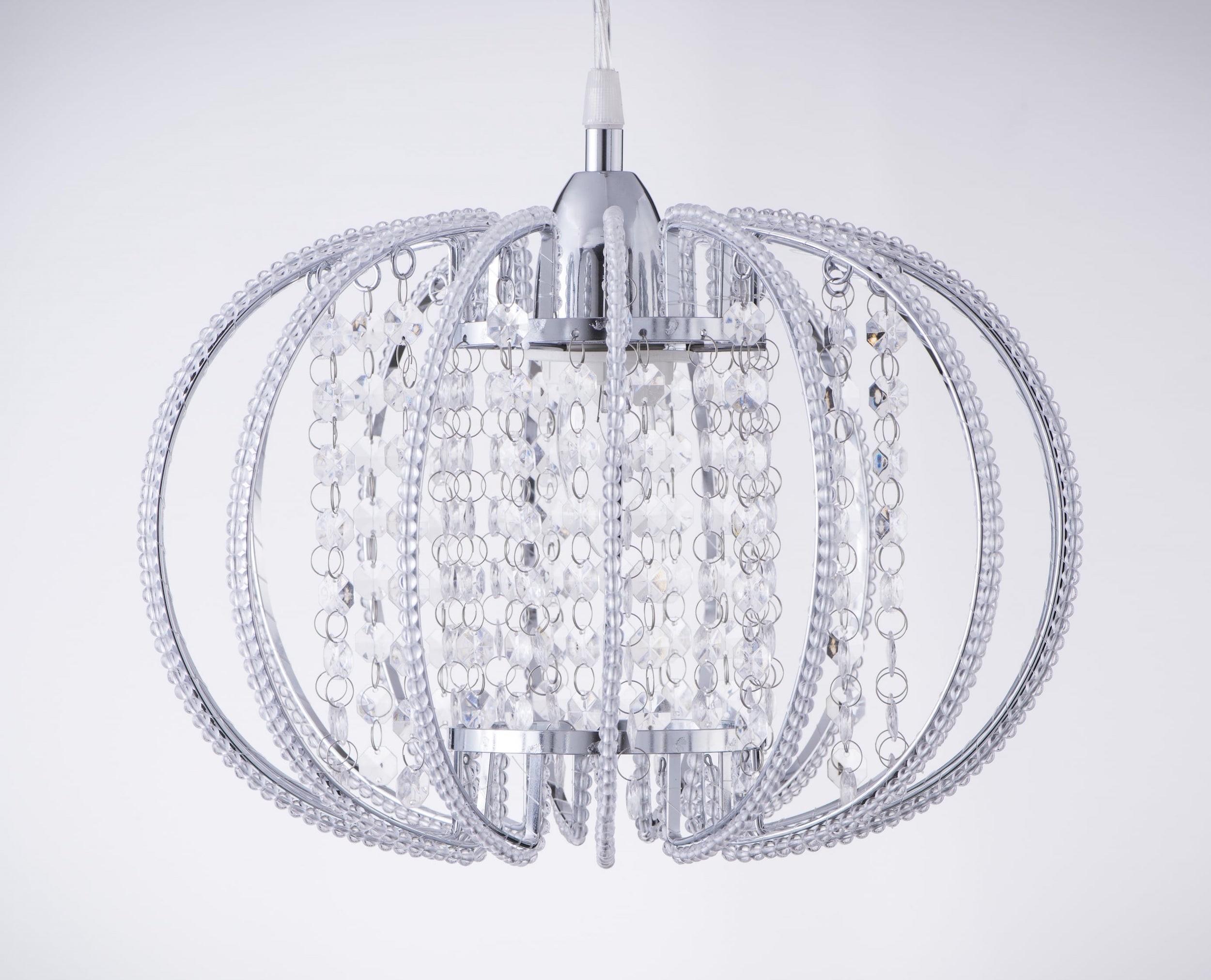 鍍鉻圓形透明壓克力珠吊燈-BNL00046