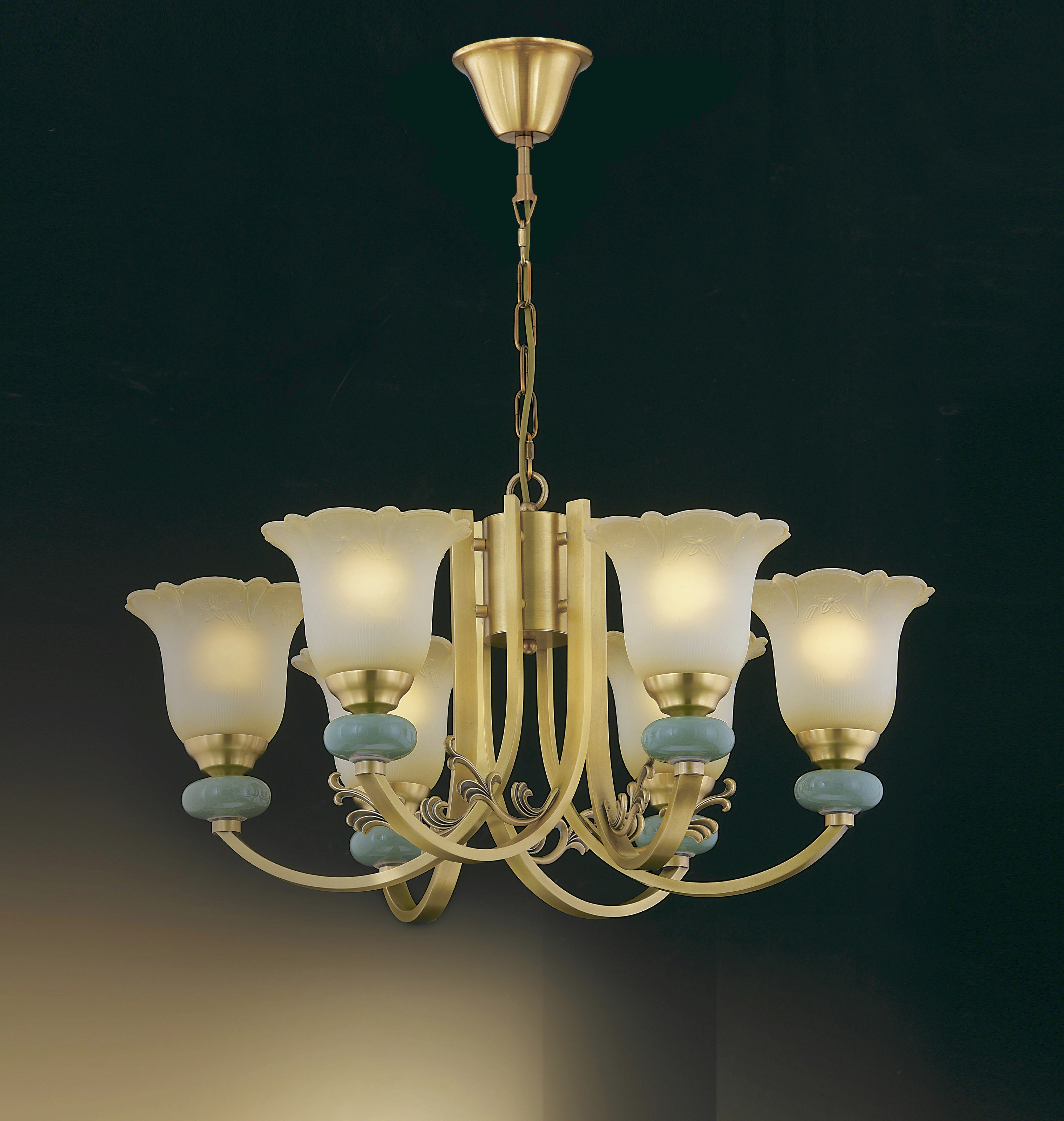 古銅金彎管陶瓷珠6燈玻璃罩吊燈