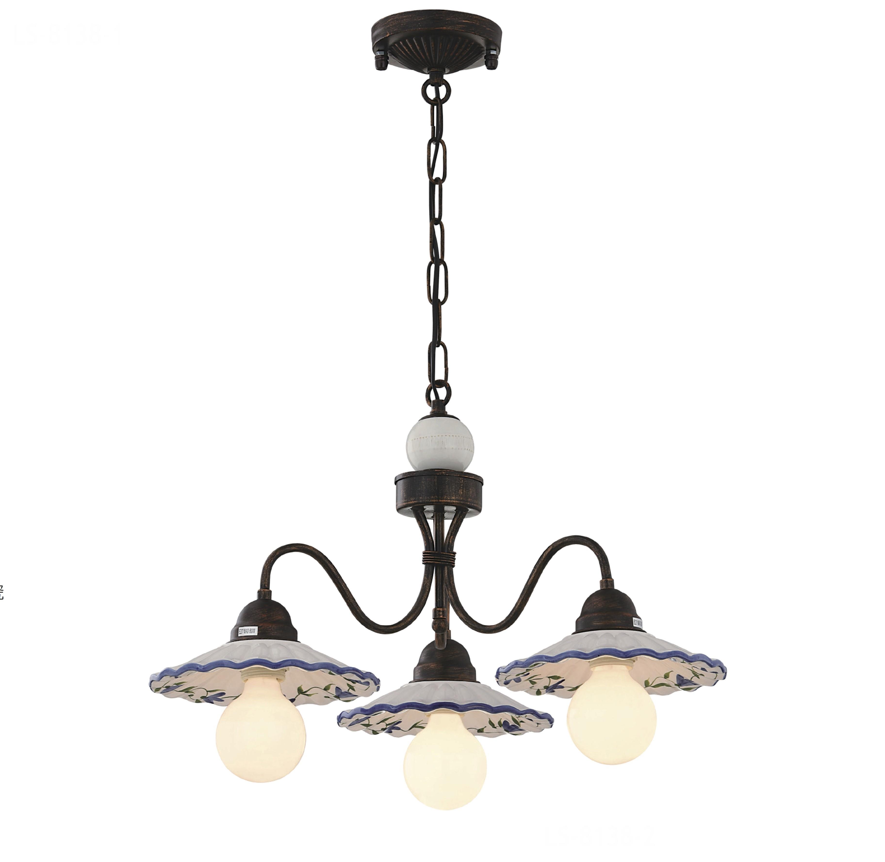 鄉村風陶瓷盤3燈吊燈