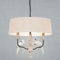 鄉村風小鳥裝飾布燈罩3燈頭吊燈