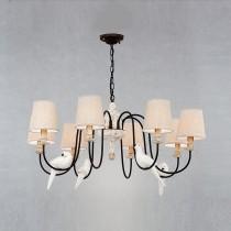 鄉村風小鳥裝飾布燈罩8燈頭吊燈