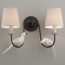 鄉村風小鳥裝飾布燈罩雙壁燈