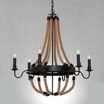 Loft工業風燭台式麻繩吊燈-LS-7098-1