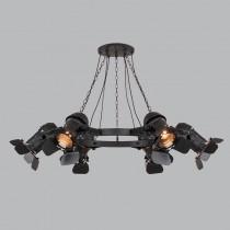 Loft工業風攝影棚6燈頭吊燈-LS-7044-1