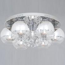 鍍鉻圓盤6燈罩半吸頂燈-LS-7162-1