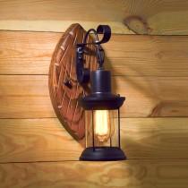 LOFT工業風小油燈原木壁燈