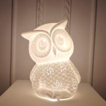白色透光陶瓷貓頭鷹造型桌燈(小)-療癒系