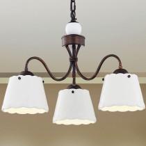 鄉村風陶瓷白色燈罩3燈吊燈