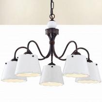鄉村風陶瓷白色燈罩5燈吊燈