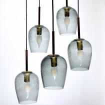 古銅金色氣泡玻璃5燈吊燈-BNL00138