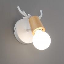 原木鹿角白色壁燈