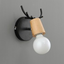 原木鹿角黑色壁燈