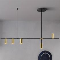 黑色長桿5燈吊燈-客製品