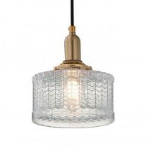 日式波浪紋玻璃罩吊燈