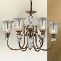 電鍍古銅彎管水晶6燈玻璃罩吊燈