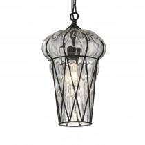 美式復古鐵架玻璃罩直筒吊燈