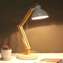 現代簡約原木可調角度白色桌燈