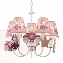 兒童房粉紅燈罩公主吊燈
