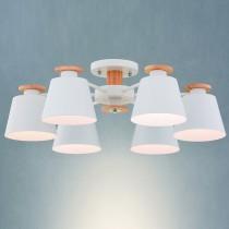 白色投射燈罩原木六燈吸頂燈