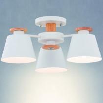 白色投射燈罩原木三燈吸頂燈