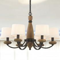 棕色木六燈頭吊燈