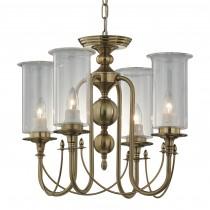 電鍍古銅金玻璃罩4燈吊燈